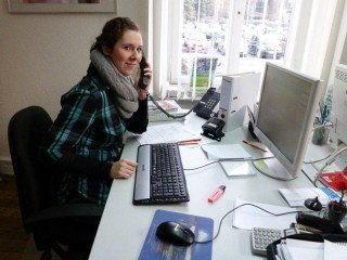Am Arbeitsplatz in der Werbeagentur papenbusch media gmbH (Foto: WBG/Harnischmacher)