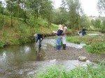 Der Flussabschnitt wird im Team unter die Lupe genommen. (Foto: WBG/Eggers)