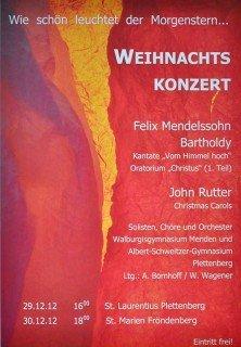 Weihnachtskonzert des WBG-Schulchores 2012: Plakatankündigung (Foto: SMMP/Sr. Johanna Hentrich)