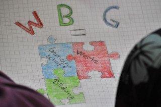Werte - Bildung - Gemeinschaft: WBG - Logo-Entwurf aus der 6a (Foto: SMMP/Sr. Johanna Hentrich)