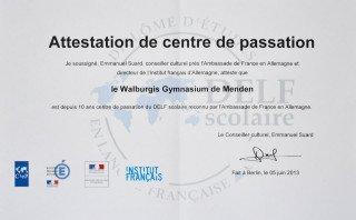 Urkunde der französischen Botschaft für 10 Jahre DELF am WBG. (Foto: SMMP/Hentrich)